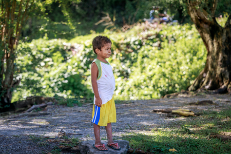 Local Filipino children living near volcano Mount Pinatubo on Aug 27, 2017 in Santa Juliana, Capas, Central Luzon, Philippines. the people suffer of poverty due to the bad economy, political issue.
