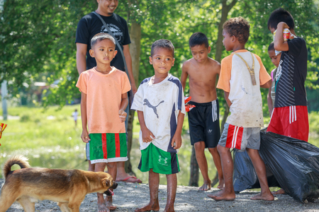 Portrait of unidentified Aeta tribe people on Aug 27, 2017 in Santa Juliana, Capas, Central Luzon, Philippines. the people suffer of poverty due to the bad economy, political issue.