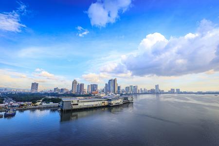 City Skyline of Manila Harbor on Nov 21, 2017 at port of Metro Manila, Philippinese
