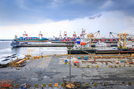 Manila port with containers, business logistic and ships on Nov 21, 2017 in Metro manila, Philippines