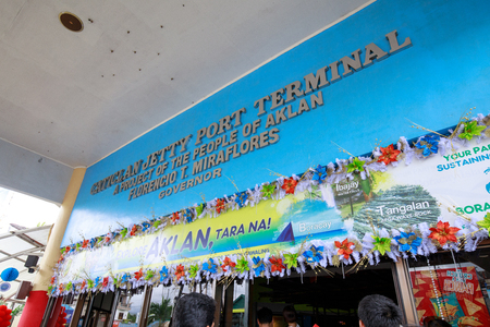 Sign Board of Caticlan jetty port terminal. Best way to get to Boracay Island on Nov 17, 2017 in the Philippines Editoriali