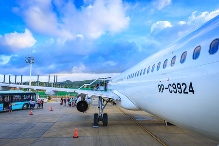 Philippine Airlines (PAL) at Caticlan airport on Nov 17, 2017 near Boracay Island in the Philippines 에디토리얼