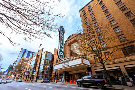 Portland, Oregon, United States - Dec 19, 2017:  The iconic Portland sign of Arlene Schnitzer Concert Hall in downtown at winter season Editorial