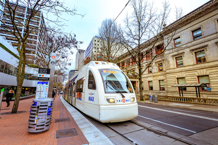 Portland, Oregon, United States - Dec 19, 2017: Public transportation, TriMet Max Train, in downtown Portland Editorial