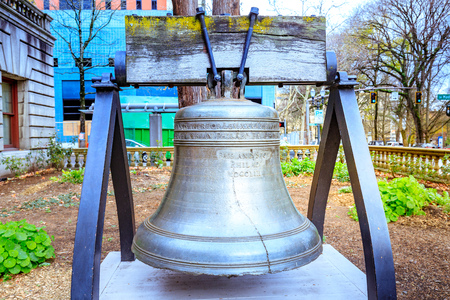 Portland, Oregon, United States - Dec 19, 2017 : Liberty Bell at Portland city hall garden