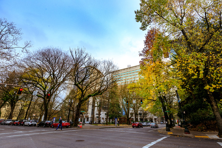 Portland, United States - Dec 19, 2017 : Chapman Square, Leafy square block once intended for women only, now frequented by all under all-female ginko trees. It it located in 210 SW Main St, Portland. 新聞圖片