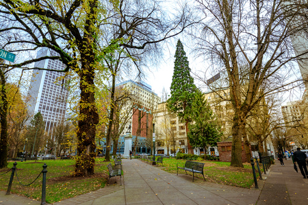 Portland, United States - Dec 19, 2017 : Lownsdale Square, Historically intended for men only, this block-long green space with memorial sites is open to all.