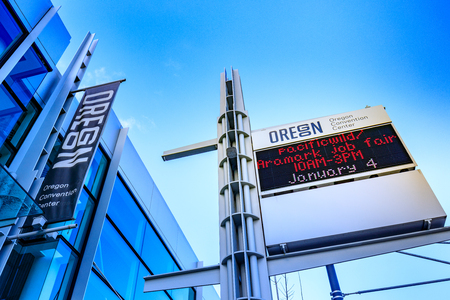 Portland, Oregon, United States - Dec 20, 2017 :  Sign of Oregon Convention Center, that is located on the east side of the Willamette River in the Lloyd District neighborhood.