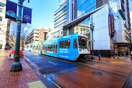 Portland, United States - Dec 21, 2017 : TriMet Max, Pubic transportation in downtown Portland