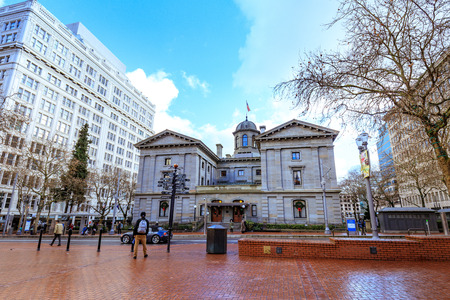 Portland, United States - Dec 21, 2017 : Pioneer Courthouse Square in downtown Editorial