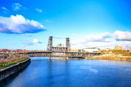 Steel bridge across Willamette river in Portland, Oregon