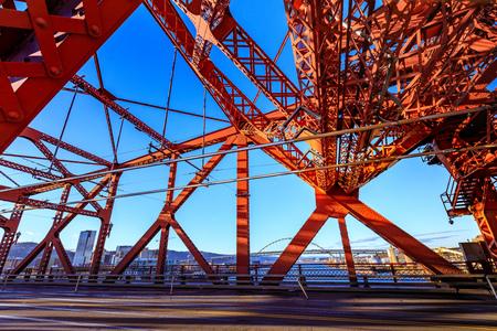 The Broadway bridge, Portland OR. Stock Photo