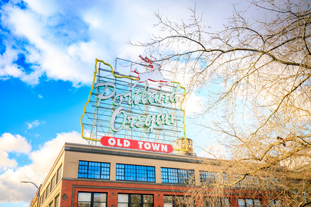 Portland, US - Dec 21, 2017 : Made in Oregon White Stag sign in Old Town Portland Oregon near Burnside Street and the Saturday Market