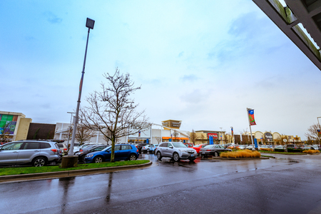 Portland, Oregon, United States - Dec 20, 2017 : Cascade Station Shopping Center at rainy day. it is located in Northeast Portland