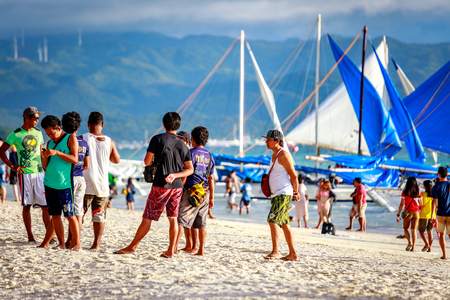 BORACAY ISLAND, PHILIPPINES - November 18, 2017 : Crowded beach of Boracay beach