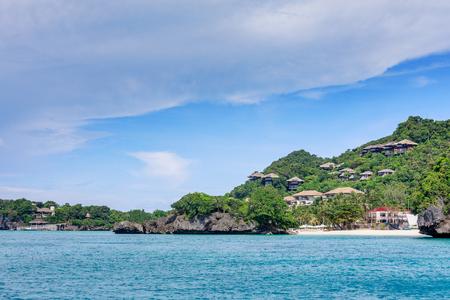 BORACAY ISLAND, PHILIPPINES - November 18, 2017 : Shangri La Boracay Resort and Spa, view from the water in Boracay Island