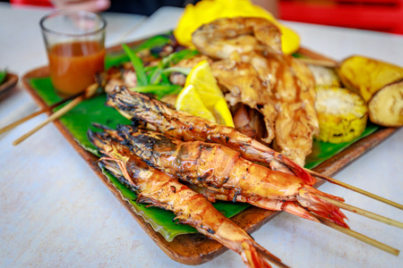 Philippine barbecue food on the table 스톡 콘텐츠