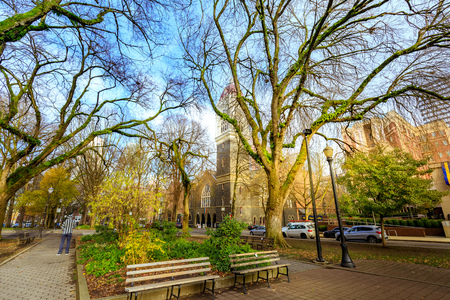 Portland, Oregon, United States - Dec 22, 2017 : View of South Park with First Congregational United Church of Christ in downtown Portland