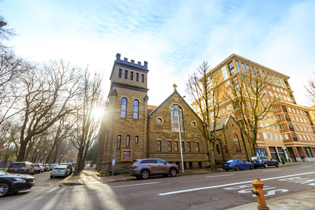 Portland, Oregon, United States - Dec 22, 2017 : Facade of St. James, Lutheran Church in Portland downtown