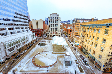 Portland, Oregon, United States - Dec 25, 2017 : Ariel view of Directors Park in 815 SW Park Ave, Portland, OR, USA
