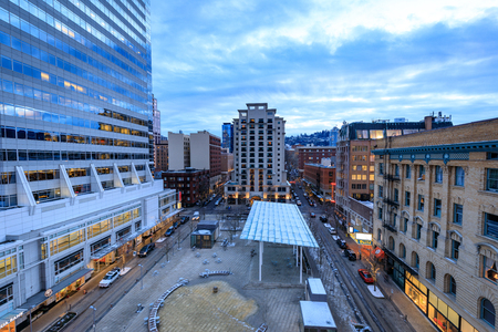 Portland, Oregon, United States - Dec 27, 2017 : Ariel view of Directors Park in 815 SW Park Ave, Portland, OR, USA