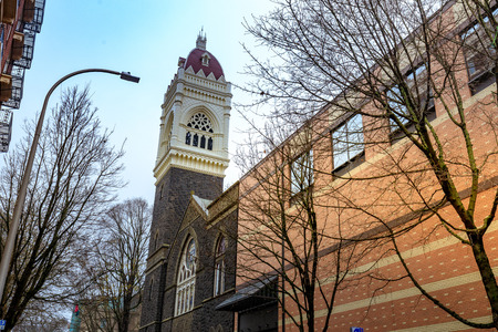Portland, Oregon, United States - Dec 22, 2017 : View of first Congregational United Church of Christ in downtown Portland