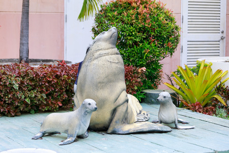 SUBIC BAY, MANILA, PHILIPPINES : JAN 28, 2018 - Statue of Sea Lion in Subic Ocean Adventure