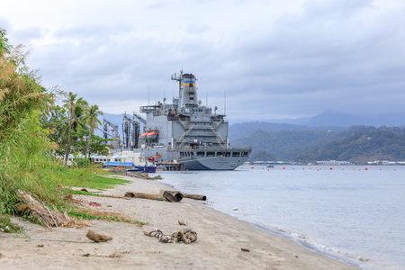 SUBIC BAY, PHILIPPINES : JAN 28, 2018 - USNS Joshua Humphreys (T-AO-188) fleet replenishment oiler of the United States Navy at the former US Naval Base in Subic Bay Editorial