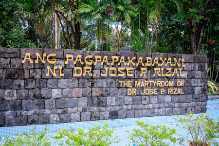 Manila, Philippines - Feb 4, 2018 : Sign at the Martyrdom of Dr. Jose Rizal. The sign is in both English and Filipino