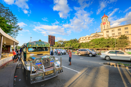 Manila, Philippines - Feb 4, 2018 : Jeepneys waiting for passengers on the street in front of Manila City Hall