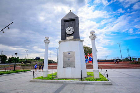 Manila, Philippines - Feb 4, 2018 : Centennial Clock structure in Manila, Philippines. The Centennial Clock is a small and modest attraction adjacent to Rizal Park and the Manila bay.