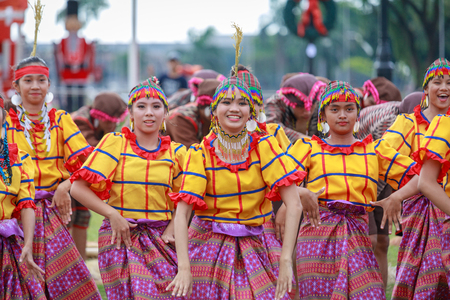 Manila, Philippines - Feb 4, 2018 : Student dancer wearing Philippines traditional costume at Rizal park in Manila city.
