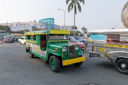 Manila, Philippines - Feb 10, 2018 : Jeepney public transportation at Mall of Asia shopping mall in Pasay, Manila city Editorial