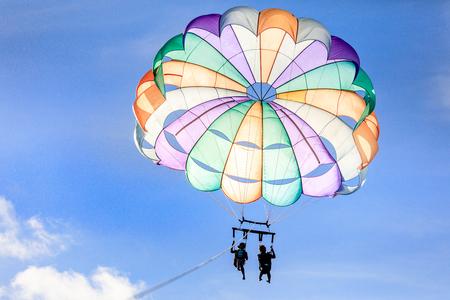 Boracay, Philippines - November 18, 2017 : Unidentified tourist doing parachute sailing recreational activity in Boracay Island, Aklan, Philippines