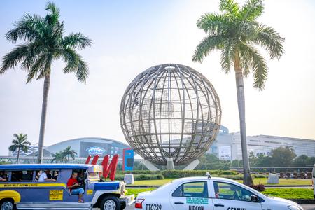 Manila, Philippines - Feb 10, 2018 : Main gate of Mall of Asia with Globe Rotunda in Pasay, Manila, Philippines.