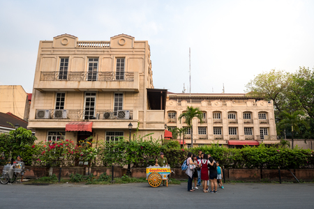 Manila, Philippines - Feb 10, 2018 : Historical building in front of Fort Santiago gate located in the Intramuros district of Manila, Philippines