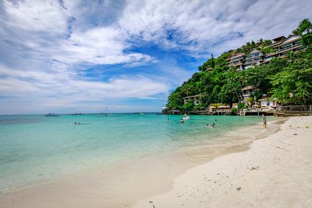 Boracay, Philippines - Nov 18, 2017 : Diniwid beach view, white-sand beach in Boracay Island in the Philippine