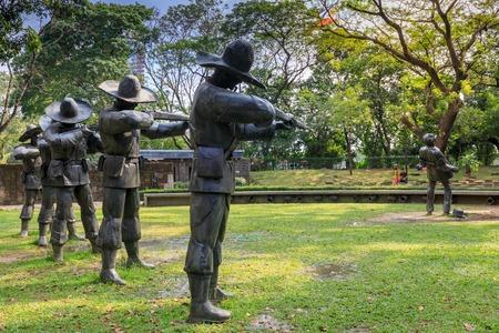 Manila, Philippines - Feb 4, 2018 : The Martyrdom of Dr. Jose Rizal large metal statues in Rizal Park, Manila Editorial