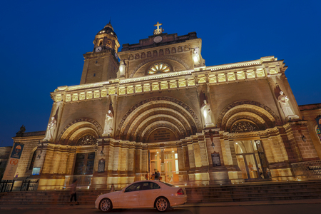 Manila, Philippines - Feb 10, 2018 : Night view of Manila Cathedral located in the Intramuros district of Manila, Philippines Editorial