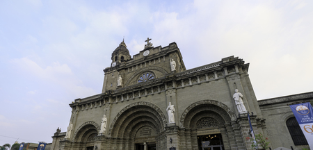 Manila, Philippines - Feb 10, 2018 : Manila Cathedral located in the Intramuros district of Manila, Philippines