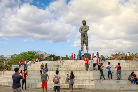 Manila, Philippines - Feb 4, 2018 : The Statue of the Sentinel of Freedom (Lapu Lapu Monument) in Rizal Park at the center of the Agrifina Circle, Manila