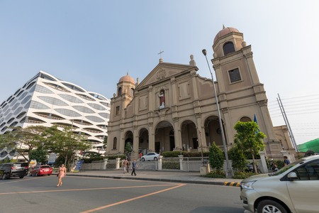 Manila, Philippines - Feb 10, 2018 : Facade of catholic churches beside in the Mall of Asia shopping mall of Pasay City, Philippines
