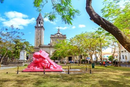 Manila, Philippines - Feb 17, 2018 : Manila Cathedral with the Intramuros area of manila