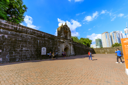 Manila, Philippines - Feb 17, 2018 : Fort Santiago, Intramuros district of Manila, Philippines. Fort Santiago is a citadel which was first built by Spanish conquistador for the new established city of Manila.