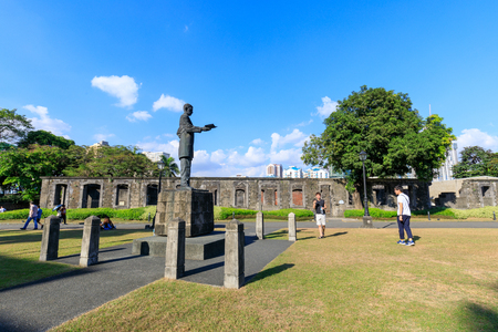 Manila, Philippines - Feb 17, 2018 : Rizal statue at Fort Santiago, Intramuros district, Manila city