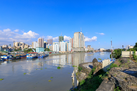 Manila, Philippines - Feb 17, 2018 : Manila pasig river view from Fort Santiago view deck, Intramuros, Manila, Philippines Editorial