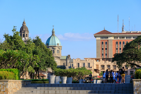 Manila, Philippines - Feb 17, 2018 : Manila Cathedral with the Intramuros area of manila