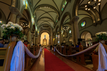 Manila, Philippines - Feb 17, 2018 : Interior of the historic cathedral church in Manila Philippines