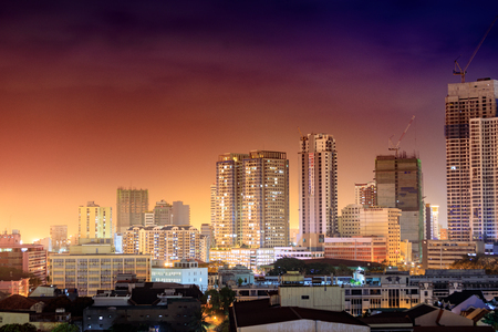 Manila, Philippines - Feb 17, 2018 : Skyline of Manila City with sunset