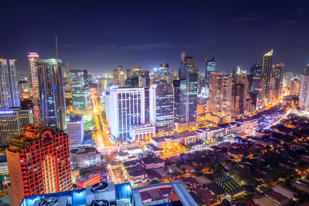 Manila, Philippines - Feb 25, 2018 : Eleveted, night view of Makati, the business district of Metro Manila Editorial